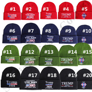 Trump 2020 Beanies Örgü Kış Şapka Işlemeli Amerika Büyük Harfler Tutmak Sıcak Örme Kapaklar Kadınlar için Hip Hop Tığ Kafatası Şapka Erkekler C82101
