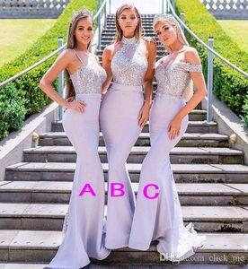 Neue gemischte Stile Meerjungfrau Brautjungfer Kleider Lavendel Perlen Applikationen Spitze weg von der Schulter Halfter Riemen bodenlangen Hochzeitsgast Kleid