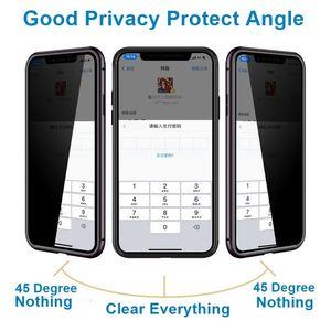 Yeni Manyetik Çift Yan Temperli Cam Gizlilik Metal Telefon Kılıfı Coque 360 Mıknatıs Antispy Koruyucu Kapak iphone XR XS MAX X 8 7 artı