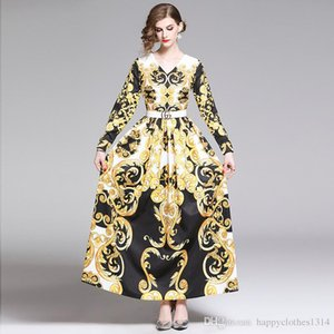 New Women's Runway Baroque Printed Dress Beautiful Floral Print Long Sleeve V-Neck Office Lady Sexy Slim Pleated Party Evening Maxi Dresses
