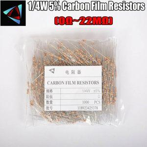 1000pcs 1 4W 0.25W 5% Carbon Film Resistor 0R ~ 10M 100R 220R 330R 1K 2.2K 3.3K 4.7K 10K 22K 47K 100K 0.47 100 220 330 680 ohm