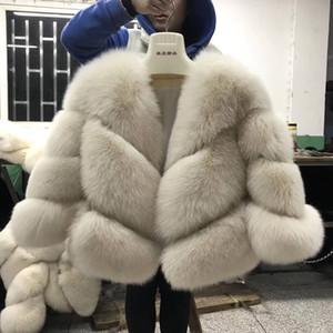 FURSARCAR 2019 Nouveau vrai fourrure veste hiver de femme Fox manteaux de fourrure de luxe chaud Mode Sergé conception courte véritable Veste en fourrure naturelle T191115