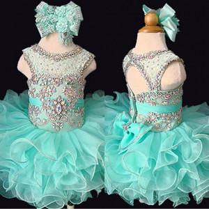 Mint 2020 Custom Made Pouco girlbaby Senhorita Glitz Mint Cupcake Pageant vestido recém-nascido New cristal rosa Flor Meninas Vestidos