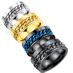 Numerais romanos Anéis de noivado Spinner Chain Ring 316L Corrente de Aço Inoxidável Atacado Mens Jóias designer de luxo jóias mulheres anéis