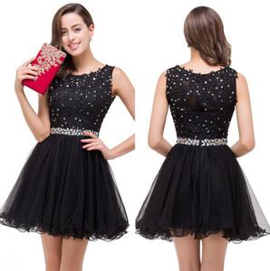 Little Black Lace une ligne robes de cocktail 2020 Tulle Ruffles perles strass soirée courte Homecoming Robes de bal 100% réel image CPS381