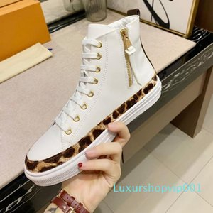 Free shipping Fashion Men Women Casual Shoes leopard print Designer Sneakers Shoes Top High White Genuine Leather Classic Flower Shoes 4-11