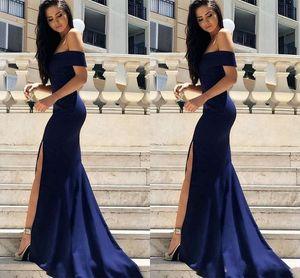Azul marino sirena vestidos formales 2019 del hombro manga corta lateral abierto del vestido de noche del desgaste alfombra roja Inspired Prom Vestidos