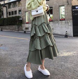 Elegant Green Summer Skirt Elastic Waist Women Pleated Ruffles Long Skirts A-line feminino Faldas Saias Jupe 2019