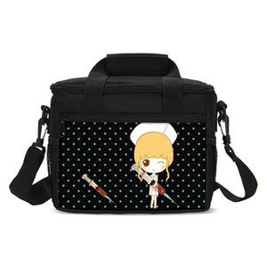 Unisex Small Lunch Bags Fashion Cartoon Cute Girl Printed Ice Bag Insulated Thermal Picnic Lunchbox Shoulder Bag Handbags