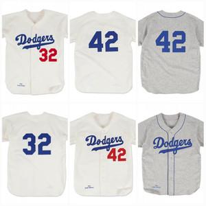 بروكلين 42 جاكي روبنسون 1955 32 ساندي كوفاكس 1955 خمر البيسبول جيرسي جميع Stitiched كبار المستشارين شحن