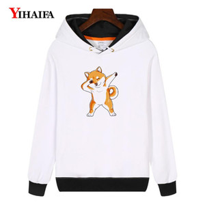 Impreso perro YIHAIFA mujeres camiseta de invierno polar con capucha Kpop Harajuku divertido jersey sudadera gruesa capa Tops