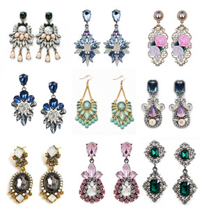 Hot Earrings American and European Styles Big Tassel Long Crystal Dangle Hoop Drop Mix flower rhinestone Earrings Jewelry For Women Party