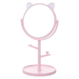 Nuovo singolo gatto laterale Ear Tabella specchio per il trucco 360 gradi di rotazione bagagli base a specchio rotondo monili d'attaccatura staccabile Specchio
