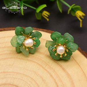 GLSEEVO Natural Jade Pérola brincos para mulheres mãe presente do dia de aniversário 925 Sterling Silver Flor Brinco Fine Jewelry GE0780 CX200706