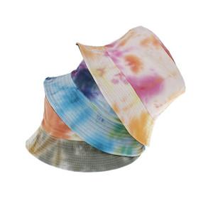 Лето галстук-крашение ведро шляпа Рыбак кепка женщины мужчины подарок широкими полями пляжная кепка цветочный универсальный открытый путешествия солнце пляж шляпа LJJA3830