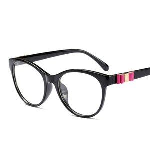 Moda de Nova Transparente espelho plano For Women bonito delicado quadro Bow Resina Óculos vibrante Cat Eye Ladies Plano Glasses C138