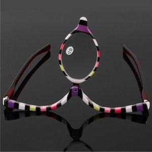 Ampliación de los lectores de maquillaje Make presbicia del ojo de vidrios Hasta Gafas, tapa de lente plegable cosmética mujeres gafas de lectura