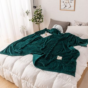 Super Soft Solid Quilted Flannel Blankets For Beds Striped Mink Throw Sofa Cover Bedspread Winter Warm Blankets Throw blanket