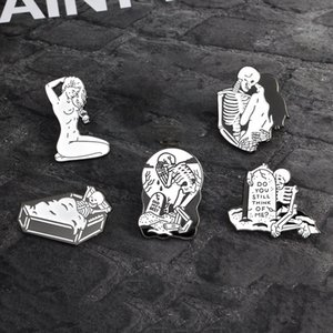 Personnalité Exagération squelette humain Broche All-Umbro Accessoires Huile Dripping alliage d'émail Badge Accessoires collier