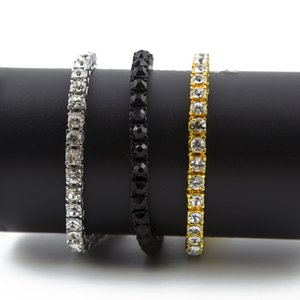 Hip Hop Bracelet Gold Plated Bling Bling 1 Row Iced Out Cz Bracelet Top Fashion Mens Jewelry Y#101