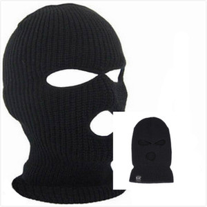 htsport noir en tricot 3 trous de ski Masque BALACLAVA Chapeau Visage Bouclier Bonnet Cap neige Hiver chaud 2018 mode d'été
