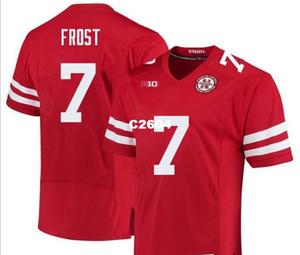 2019 NOVO Homens Nebraska Cornhuskers Scott Frost 7 whtie RED verdadeiro bordado cheio Colégio Jersey Tamanho S-4XL ou personalizado qualquer nome ou camisa número