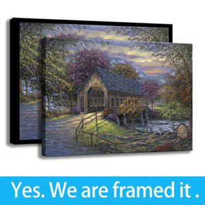 Framed Covered Bridge Wall Art Painting Wall Decor HD Print on Canvas - Ready To Hang - Framed