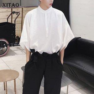 XITAO الكورية نمط فضفاض نصف الوقوف الصلبة لون قميص عارضة 2020 الربيع الصيف أزياء المرأة الجديدة السائدة المد والجزر قميص DMY3985