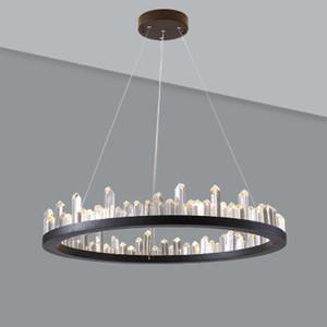 American Round Iron Droplight Modern LED Crystal Pendant Light Fixtures Simple Vintage Hanging Lamp Home Lighting Lamparas