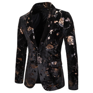 Mens Hipster Black Rose ouro Floral Bronzing Blazer Jacket Nightclub Men Wedding paletó singer Prom Slim Fit Blazers