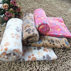 Pet Sleeping mat Havlu LXL700A Atar Renkli Pençe Baskılı Kedi Köpek Battaniye peluş Yumuşak sıcak köpek çift taraflı battaniye