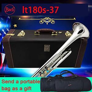 Bach trompet LT180S-37 Bb Gümüş Kaplama kaliteli Nefis El profesyonel Müzik Aletleri ağızlık çantası, hediye olarak bir çanta ekle