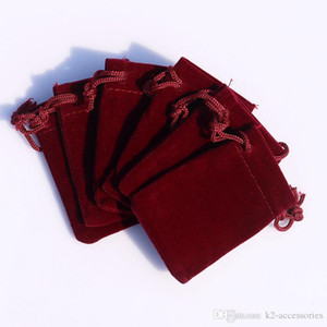 BURGUNDY 3 Sizes velvet jewelry pouch gift present package fit for necklace bracelet earring Christmas Bags
