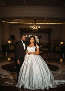 2019 Elegent Off Shoulder Satin A-line Wedding Dresses Luxury Vintage African Plus Size Beach Bohemain Bridal Gown