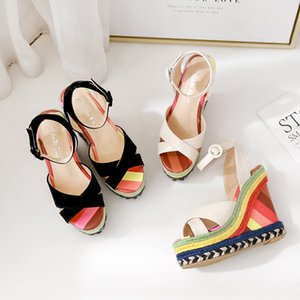 Rainbow Strappy Sandals Wedges Shoes for Women