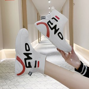 20200531 Spring new style of spring elastic socks student's Korean style versatile short boots, thick soles, net red high top shoes