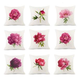 Rose Flower Funda de almohada decorativa Beautiful Rose Printing Cotton Linen Throw Pillow Case Funda de almohada Kussensloop