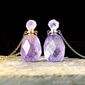 Natural Gems stone Essential Oil Diffuser Perfume Bottle Amethysts Pendant Necklace February Birthstone High End Jewelry