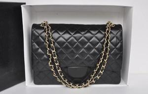 yangzizhi7 High quality Maxi Jumbo XXL Plaid Chain bag Lambskin Fashion Woman's Caviar Leather Shoulder Flap Bag 58601