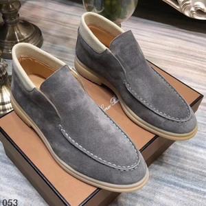 cuir nubuck Hommes Loro Marche Chaussures montantes de luxe Flats concepteur de verrouillage Slip-on Bottes de chaussures habillées 45 46