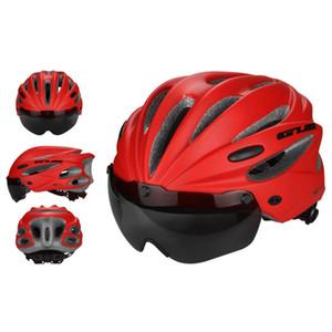 MTB 자전거 자전거 헬멧 자기 자전거 헬멧에 방풍 고글 안경 17 홀 조정 통합 성형 스포츠