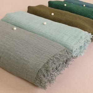 Lã Moda Cotton Rami friso dobra Hijab Mulheres Winter Lenço Alta Qualidade Seda Side Yarn Pérola Lenço