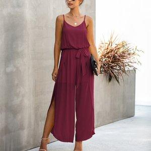 Suspender jumpsuit summer fashion v-neck sling sexy line width loose waist wide leg side split female jumpsuit irregular pants