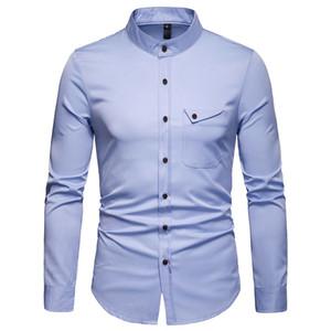 الرجال الأزياء قميص الشارع الشهير الاجتماعي طويل الأكمام قمم الذكور بلون عارضة يتأهل الملابس مريحة اللباس قميص الرجل