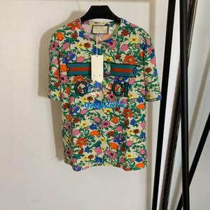 de gama alta de las mujeres camiseta de las muchachas mosaico letra floral de enclavamiento cuello redondo manga corta de la parte superior de la blusa camiseta de la moda de diseño de lujo pullover