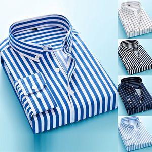 100% хлопок Оксфорд мужские рубашки высокого качества Полосатый Бизнес Повседневный Soft платье Социальные рубашки Regular Fit мужские рубашки большого размера 5XL