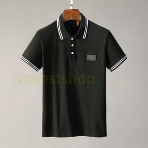 2020 nueva ropa de moda de verano para los hombres del polo bordado reyes clásicos insignia carta de rayas camiseta de manga ocasional da vuelta-abajo a la camiseta