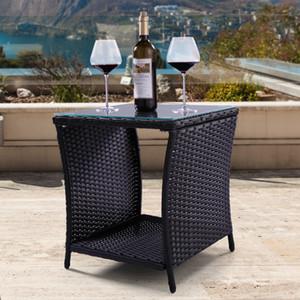 Muebles de ratán para patio, lado exterior, lado de mimbre, interiores, negro, con tapa de cristal