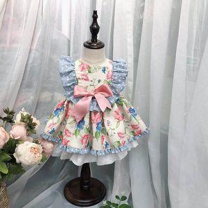 ملابس الاطفال فتاة اللباس اسبانيا الصيف نمط زهرة الكشكشة طباعة والقوس تصميم فستان لوليتا الأميرة ملابس فتاة اللباس
