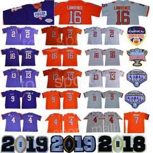 2018 Pamuklu Kase NCAA Clemson Tigers 16 Trevor Lawrence Forması 2 Kelly Bryant Deshaun Watson 9